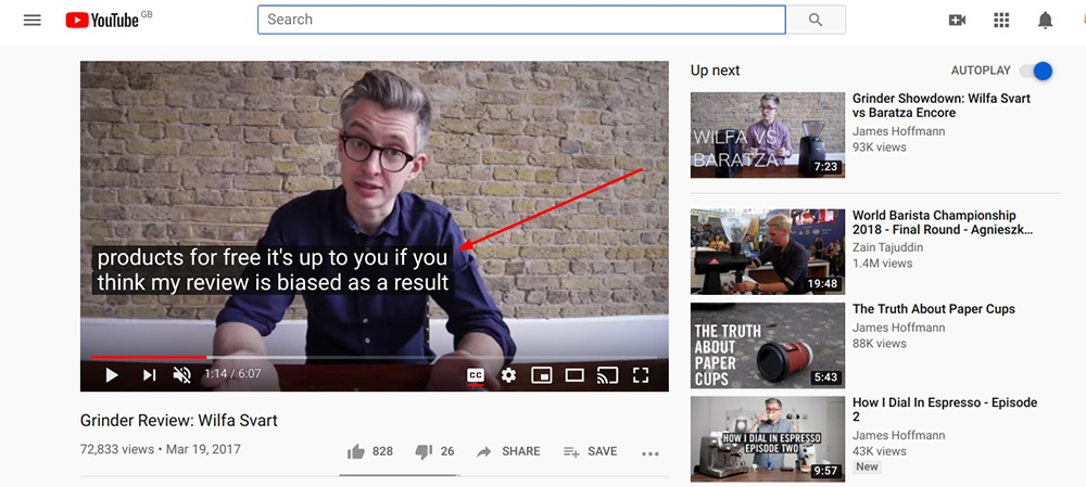 James Hoffman YouTube video with sponsored disclosure