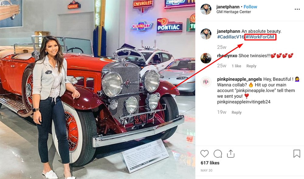 janetphann Instagram post with employee endorsement disclosure