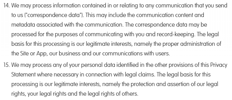 Lingumi Privacy Policy: How we use your personal data - Legitimate interests sections