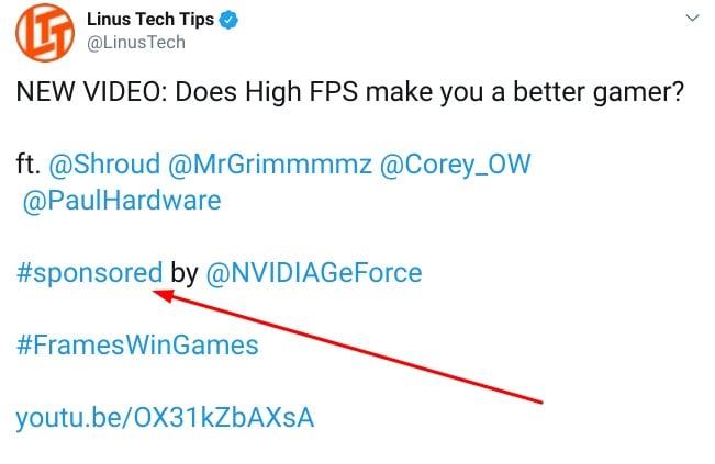 Linus Tech Tips: Sponsored Twitter post