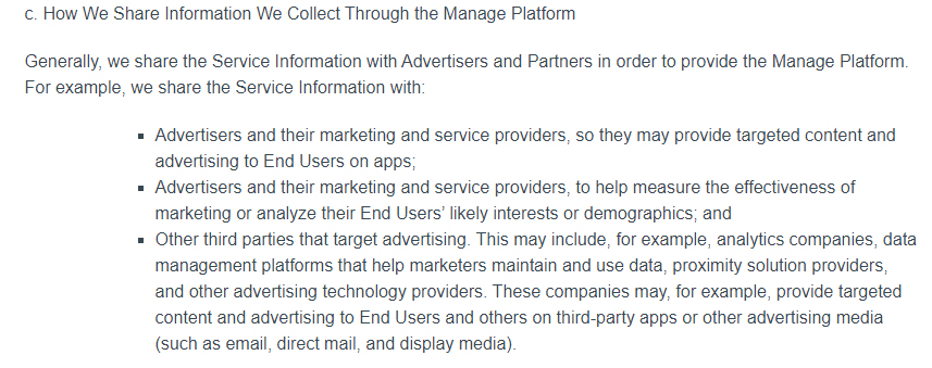 Manage Privacy Policy: How We Share Information We Collect Through the Manage Platform clause excerpt