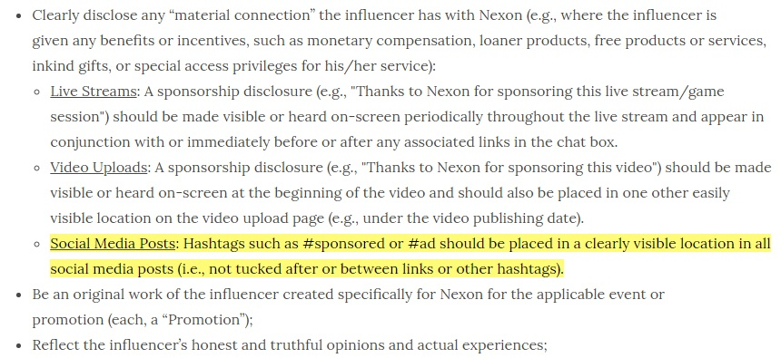 Nexon America Influencer Content Policy: Social media posts section highlighted