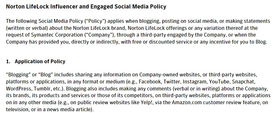 Norton LifeLock Influencer and Engaged Social Media Policy: Intro and Application of Policy clauses