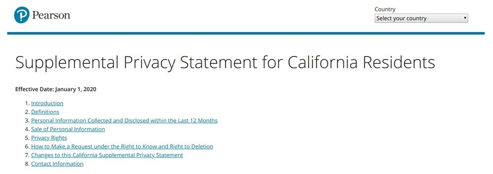 Pearson Supplemental Privacy Statement for California Residents: Screenshot of intro