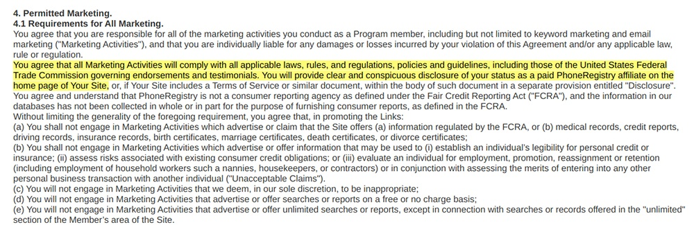Phone Registry Affiliate Program Terms: Permitted Marketing clause - Comply with FTC section