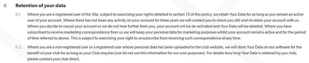 Pitchero Privacy Policy: Data retention clause