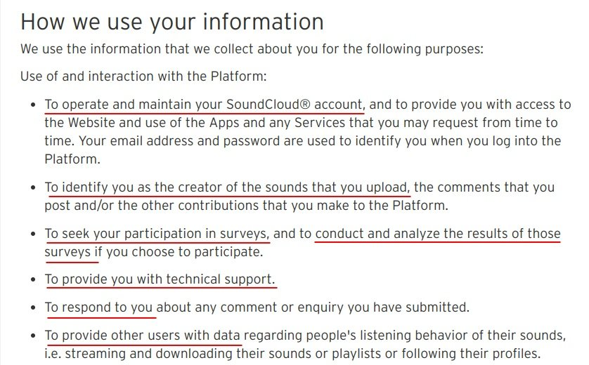 SoundCloud Privacy Policy: Highlighted Excerpt of How We Use Your Information clause