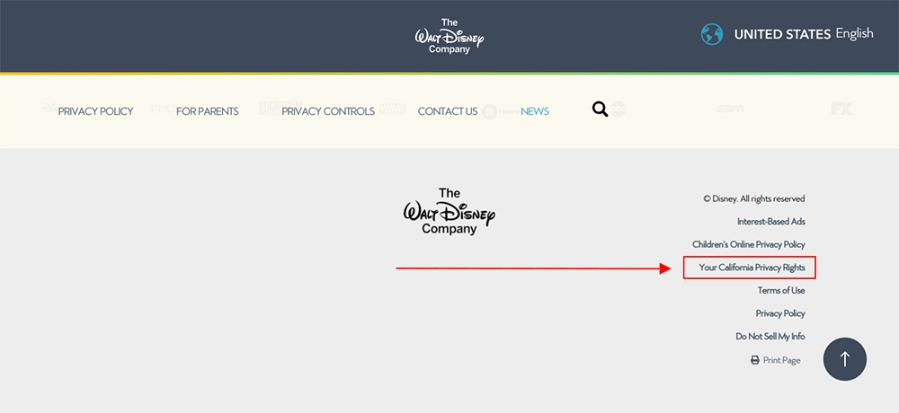 Walt Disney website homepage with California Privacy Rights link highlighted