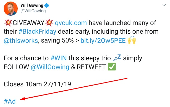 Will Gowing: Ad Twitter post