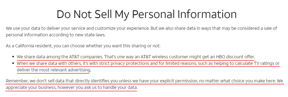 ATT: Do Not Sell My Personal Information page