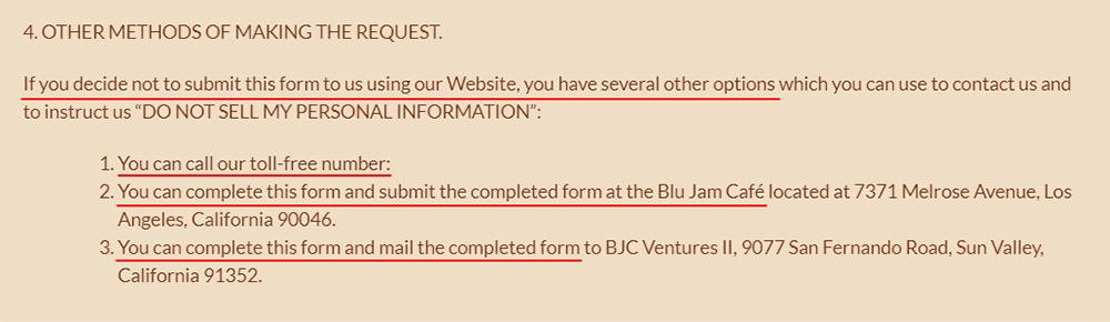 Blu Jam Cafe: Do Not Sell My Personal Information Page - Other Methods of Making the Request section