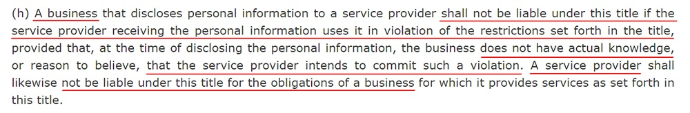 California Legislative Information: CCPA 1798 145 3 h - Service provider violations section