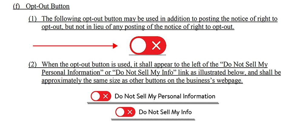 CCPA Proposed Regulations: Opt-out button icon