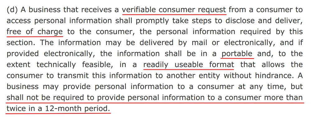 CCPA Section 1798-100: Verifiable consumer request requirements