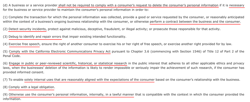 CCPA Section 1798-105: Verifiable consumer request requirement exceptions