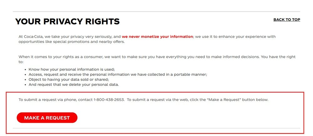 Coca-Cola Privacy Policy: Your Privacy Rights section with Make a Request button