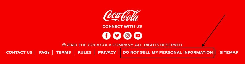 Coca-Cola website footer with Do Not Sell My Personal Information link highlighted