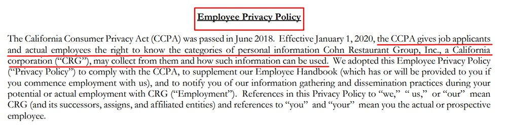 Cohn Restaurant Group Employee Privacy Policy: Intro clause