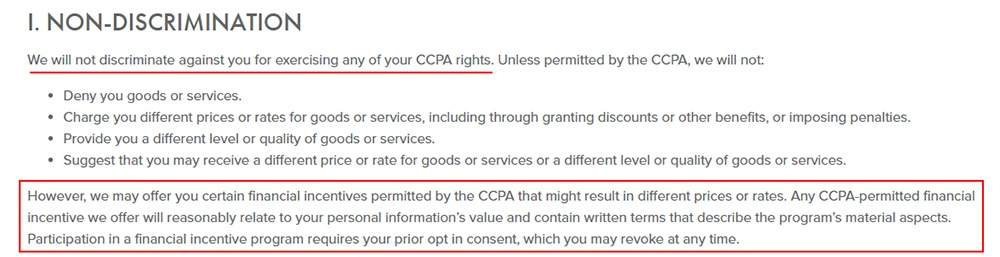 CooperSurgical CCPA Privacy Policy: Non-Discrimination clause