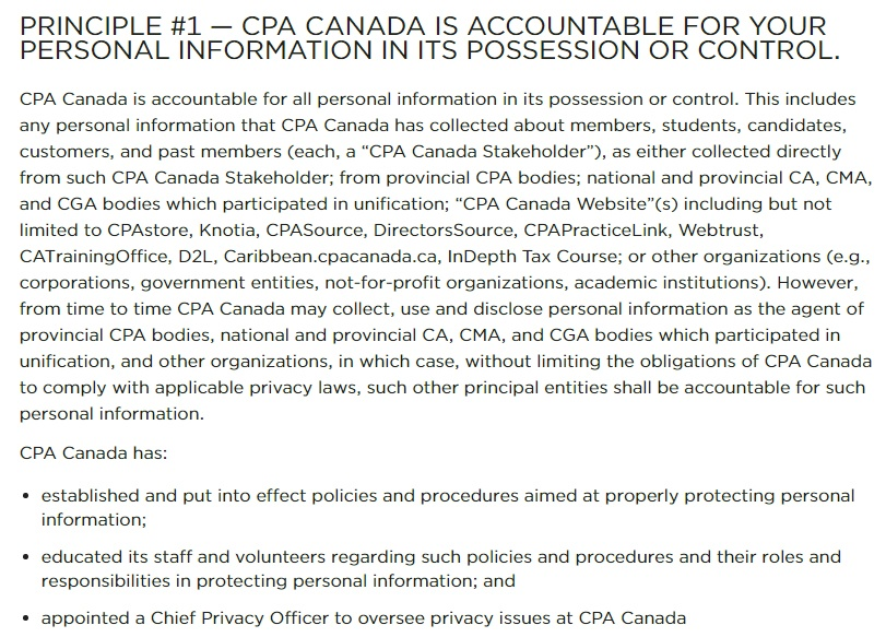 CPA Canada Privacy Policy: Accountability for personal information clause
