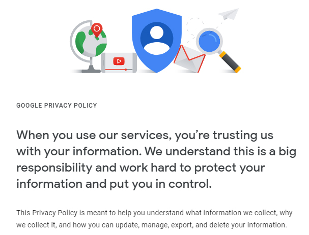 Google Privacy Policy intro statement