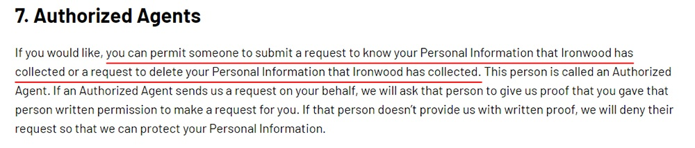 Ironwood Pharma California Consumer Privacy Policy: Authorized Agents clause