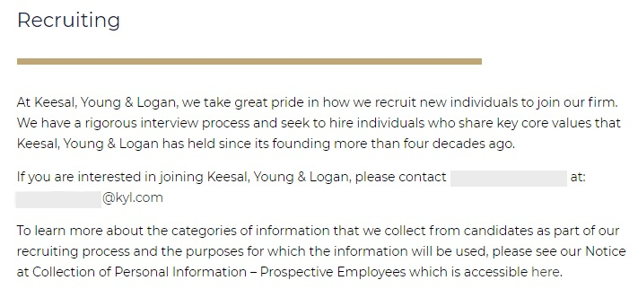 Keesal Young and Logan: Recruiting contact information
