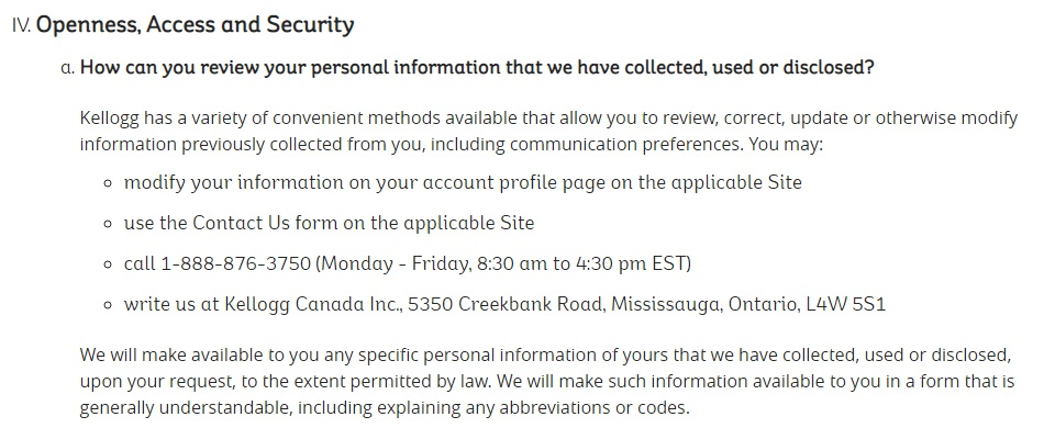 Kellogg Privacy Policy: How can you review your personal information clause
