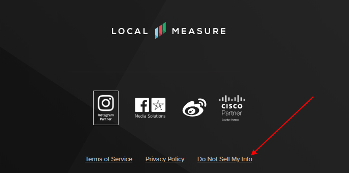 Local Measure website footer with Do Not Sell My Personal Information link highlighted