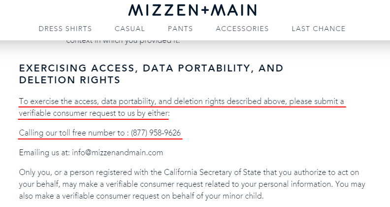 Mizzen and Main Privacy Notice for California Residents: Exercising Access, Data Portability, and Deletion Rights clause