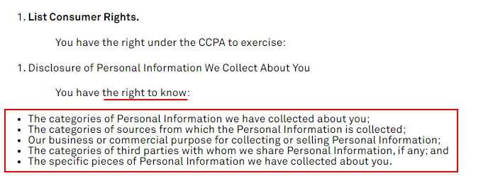 Moving Picture Company CCPA Privacy Notice: Right to Know clause