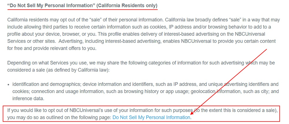NBC Universal Privacy Policy: Do Not Sell My Personal Information clause