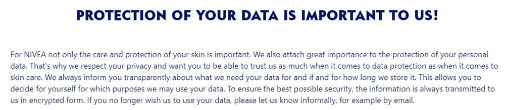 Nivea Privacy Policy: Introduction statement