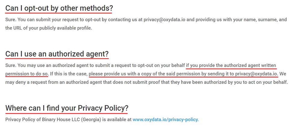 Oxydata Notice of the Right to Opt-Out: Questions section