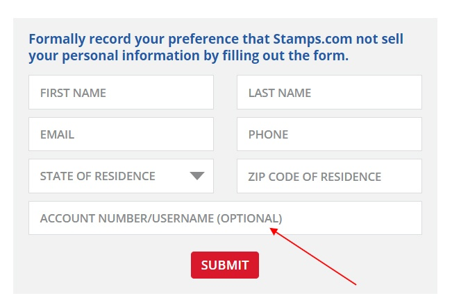 Stamps: Do Not Sell My Personal Information form