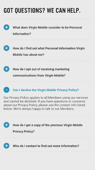 Virgin Mobile app Privacy Policy: Questions section