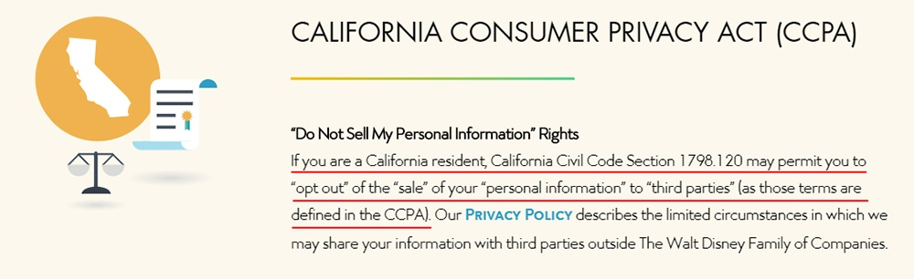 Walt Disney Company: Do Not Sell My Personal Information rights page