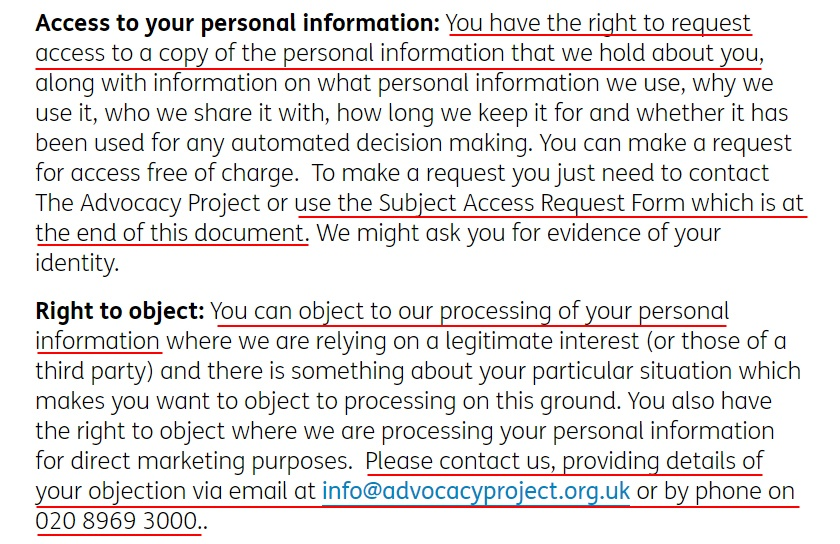 Advocacy Project UK Privacy Policy: Access to your personal information and Right to object clauses