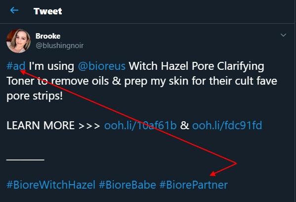Blushingnoir Twitter post: Biore influencer ad