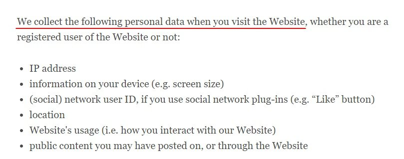 Coca-Cola UK Privacy Policy: What personal data is collected clause