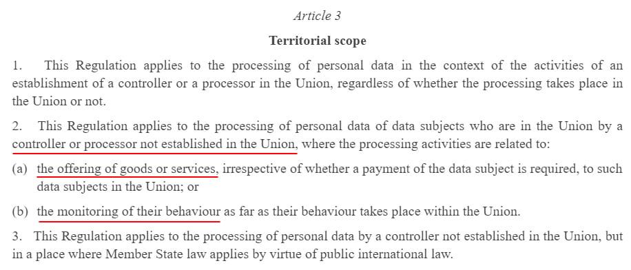 EUR-Lex GDPR: Article 3 - Territorial Scope