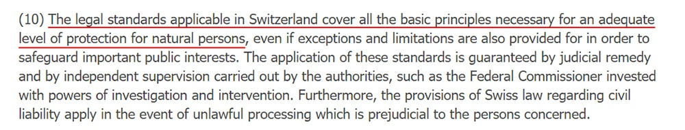 EUR-Lex GDPR: Switzerland has an adequate level of protection section