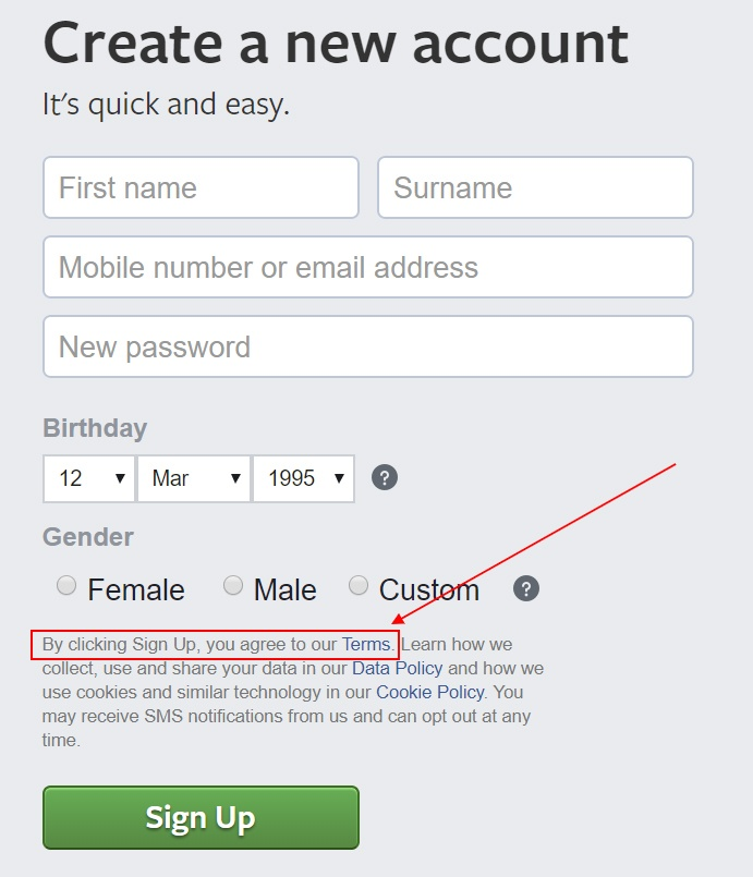 Facebook Create Account Sign-Up Form with Agree to Terms statement