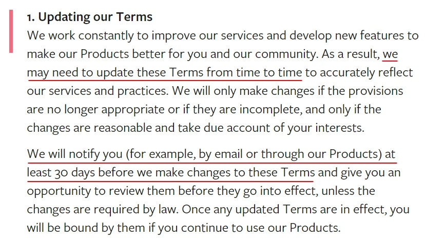 Facebook Terms of Service: Updating our Terms clause