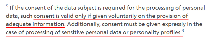 Federal Council of Swiss Government: FADP definition of consent
