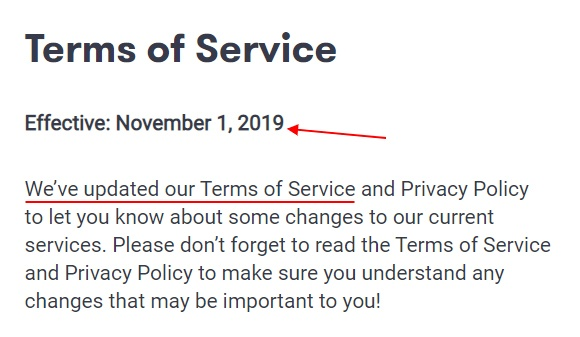 Kik Terms of Service: Effective date and update section
