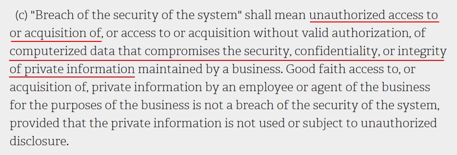 NY State Senate Consolidated Laws: SHIELD Act - Definition of Breach of the Security of the System