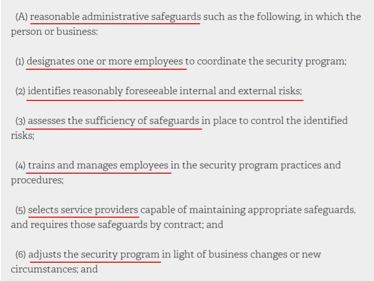 NY State Senate Consolidated Laws: SHIELD Act - Examples of reasonable administrative safeguards