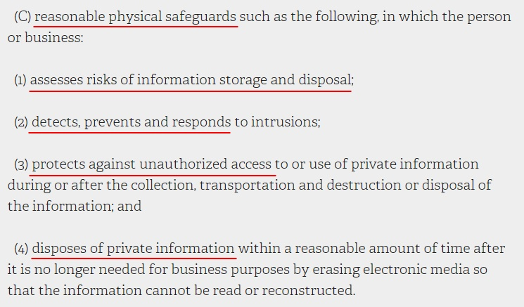 NY State Senate Consolidated Laws: SHIELD Act - Examples of reasonable physical safeguards