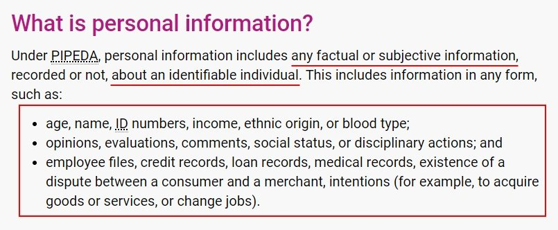 OPC: PIPEDA in Brief - Definition of Personal Information